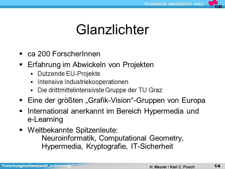 Forschungsschwerpunkt e-University H. Maurer / Karl C. Posch 14 Glanzlichter ca 200 ForscherInnen Erfahrung im Abwickeln von Projekten Dutzende EU-Pro