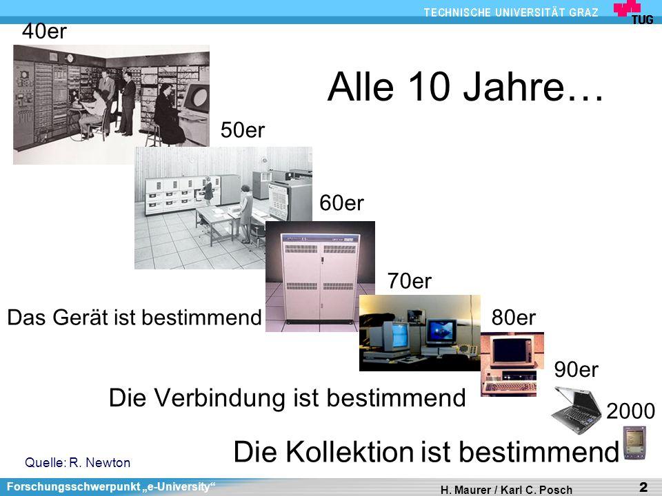 Forschungsschwerpunkt e-University H. Maurer / Karl C. Posch 2 Alle 10 Jahre… Quelle: R. Newton Das Gerät ist bestimmend Die Verbindung ist bestimmend