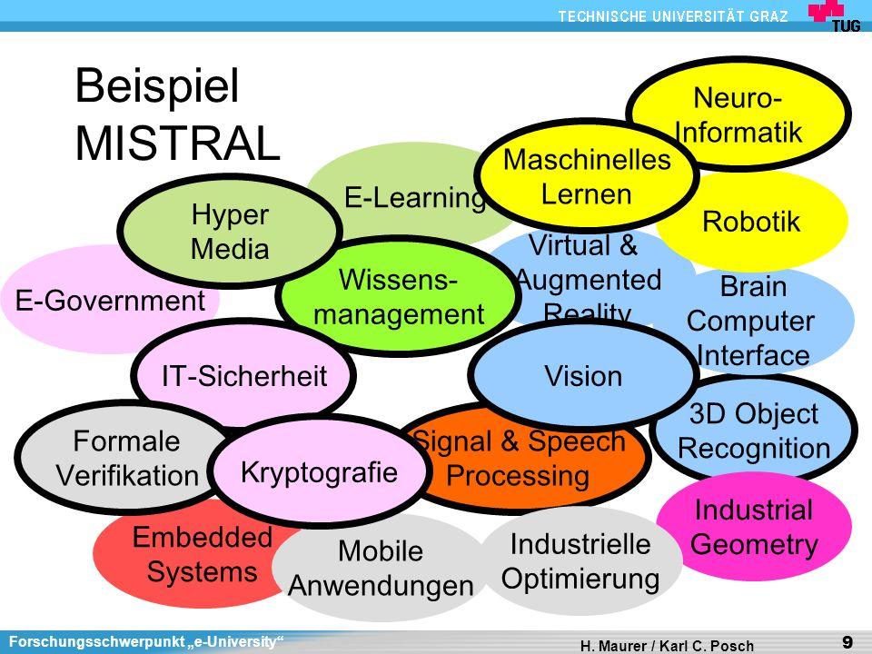 Forschungsschwerpunkt e-University H. Maurer / Karl C. Posch 9 Beispiel MISTRAL Virtual & Augmented Reality 3D Object Recognition Brain Computer Inter