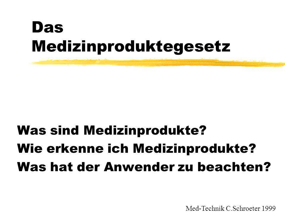 Das Medizinproduktegesetz Was sind Medizinprodukte? Wie erkenne ich Medizinprodukte? Was hat der Anwender zu beachten? Med-Technik C.Schroeter 1999