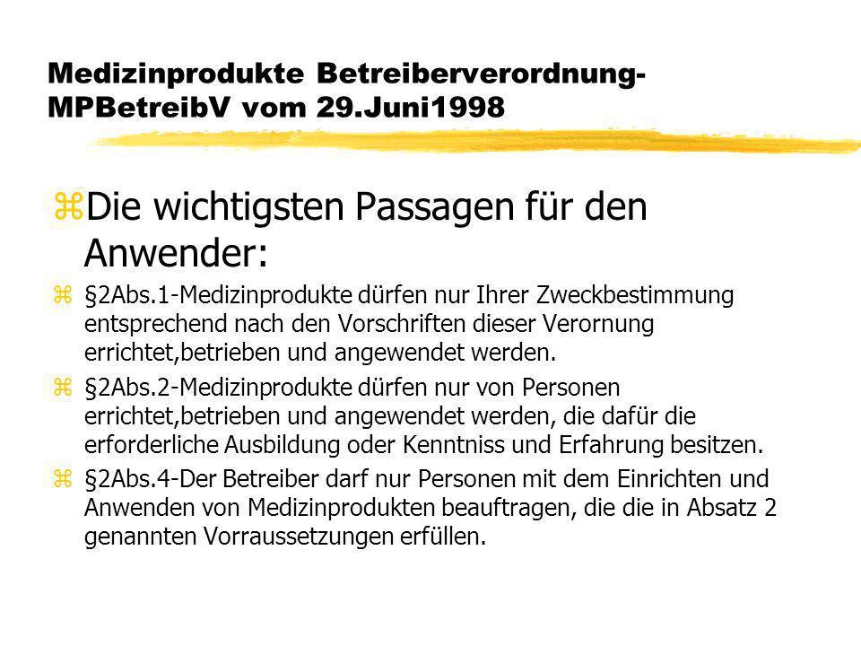 Medizinprodukte Betreiberverordnung- MPBetreibV vom 29.Juni1998 zDie wichtigsten Passagen für den Anwender: z§2Abs.1-Medizinprodukte dürfen nur Ihrer