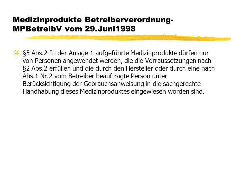 Medizinprodukte Betreiberverordnung- MPBetreibV vom 29.Juni1998 z§5 Abs.2-In der Anlage 1 aufgeführte Medizinprodukte dürfen nur von Personen angewend