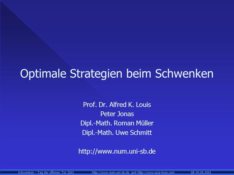 Schwenken - Tag der offenen Tür 2001 http://www.num.uni-sb.de und http://www.isca-louis.com SB 09.06.2001 Optimale Strategien beim Schwenken Prof. Dr.