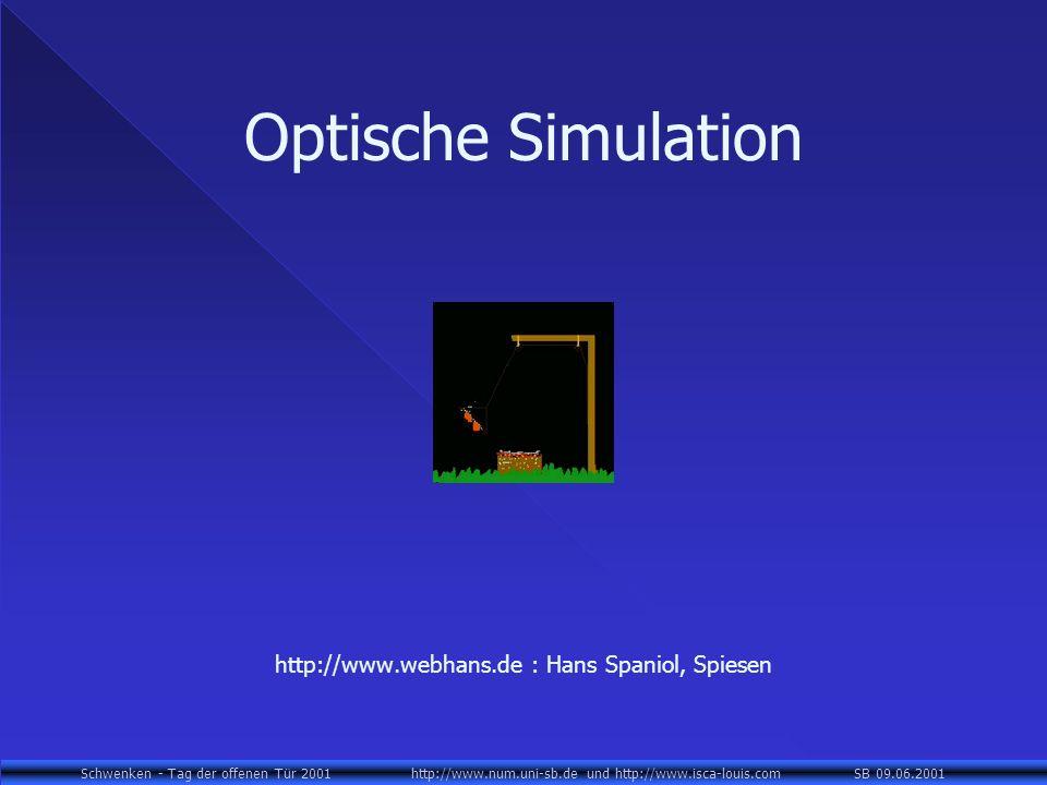 Schwenken - Tag der offenen Tür 2001 http://www.num.uni-sb.de und http://www.isca-louis.com SB 09.06.2001 Optische Simulation http://www.webhans.de : Hans Spaniol, Spiesen
