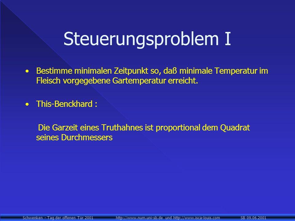 Schwenken - Tag der offenen Tür 2001 http://www.num.uni-sb.de und http://www.isca-louis.com SB 09.06.2001 Steuerungsproblem I Bestimme minimalen Zeitpunkt so, daß minimale Temperatur im Fleisch vorgegebene Gartemperatur erreicht.