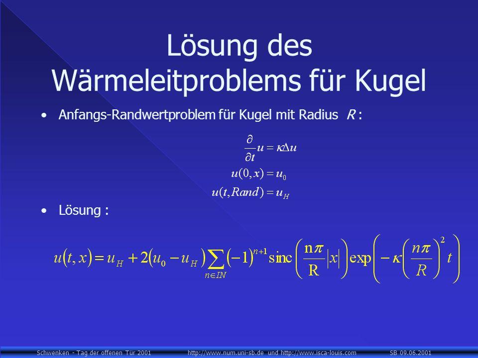 Schwenken - Tag der offenen Tür 2001 http://www.num.uni-sb.de und http://www.isca-louis.com SB 09.06.2001 Lösung des Wärmeleitproblems für Kugel Anfangs-Randwertproblem für Kugel mit Radius R : Lösung :