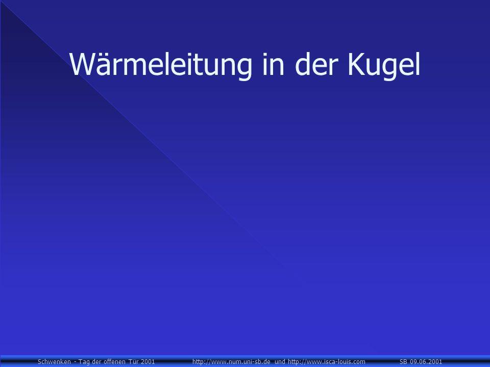 Schwenken - Tag der offenen Tür 2001 http://www.num.uni-sb.de und http://www.isca-louis.com SB 09.06.2001 Wärmeleitung in der Kugel