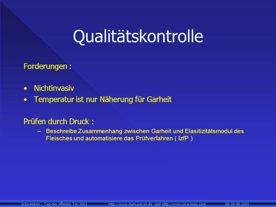 Schwenken - Tag der offenen Tür 2001 http://www.num.uni-sb.de und http://www.isca-louis.com SB 09.06.2001 Qualitätskontrolle Forderungen : Nichtinvasi