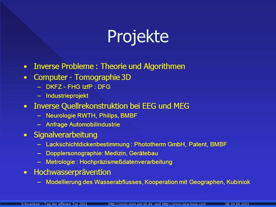 Schwenken - Tag der offenen Tür 2001 http://www.num.uni-sb.de und http://www.isca-louis.com SB 09.06.2001 Projekte Inverse Probleme : Theorie und Algorithmen Computer - Tomographie 3D –DKFZ - FHG IzfP : DFG –Industrieprojekt Inverse Quellrekonstruktion bei EEG und MEG –Neurologie RWTH, Philips, BMBF –Anfrage Automobilindustrie Signalverarbeitung –Lackschichtdickenbestimmung : Phototherm GmbH, Patent, BMBF –Dopplersonographie: Medizin, Gerätebau –Metrologie : Hochpräzismeßdatenverarbeitung Hochwasserprävention –Modellierung des Wasserabflusses, Kooperation mit Geographen, Kubiniok