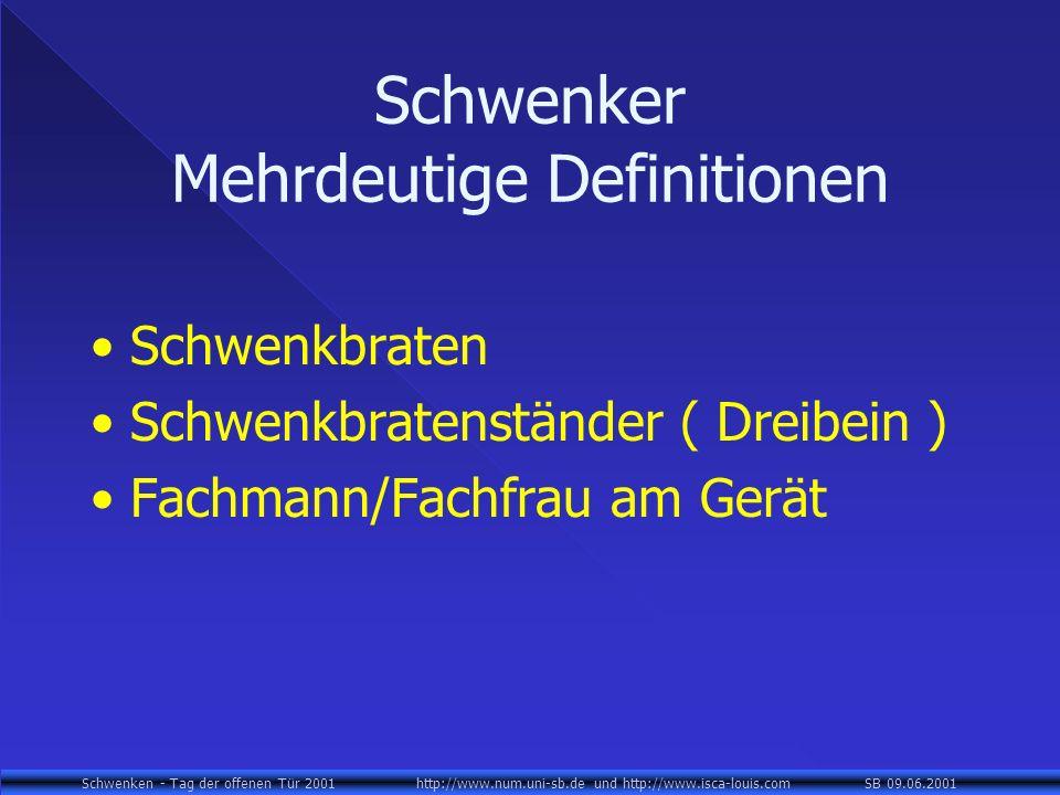 Schwenken - Tag der offenen Tür 2001 http://www.num.uni-sb.de und http://www.isca-louis.com SB 09.06.2001 Schwenker Mehrdeutige Definitionen Schwenkbraten Schwenkbratenständer ( Dreibein ) Fachmann/Fachfrau am Gerät