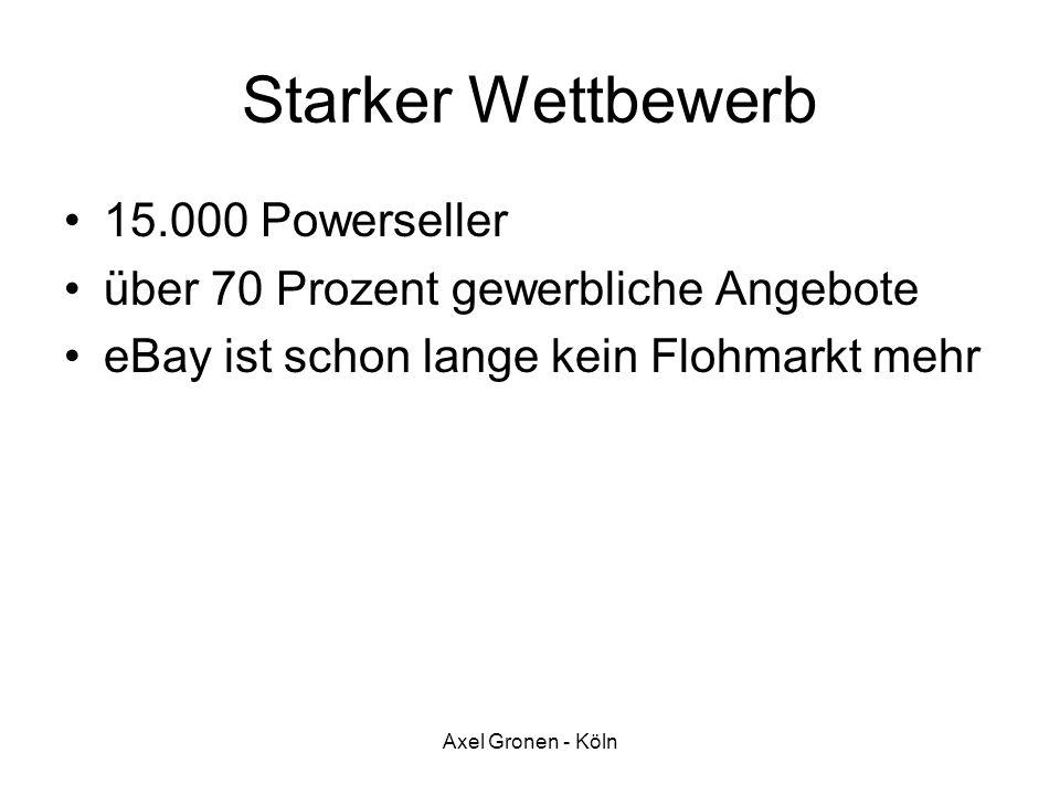 Axel Gronen - Köln Starker Wettbewerb 15.000 Powerseller über 70 Prozent gewerbliche Angebote eBay ist schon lange kein Flohmarkt mehr