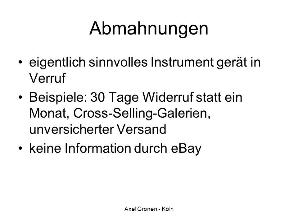 Axel Gronen - Köln Abmahnungen eigentlich sinnvolles Instrument gerät in Verruf Beispiele: 30 Tage Widerruf statt ein Monat, Cross-Selling-Galerien, u