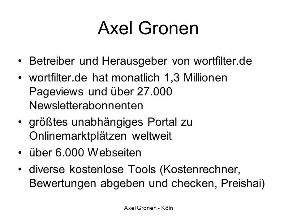 Axel Gronen - Köln Axel Gronen Betreiber und Herausgeber von wortfilter.de wortfilter.de hat monatlich 1,3 Millionen Pageviews und über 27.000 Newslet