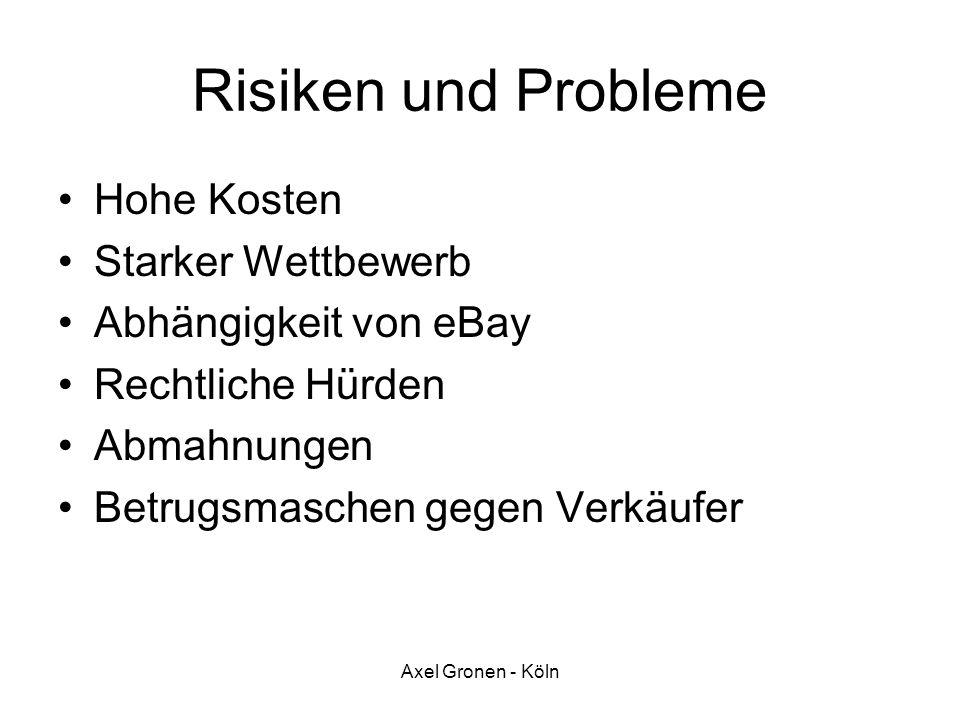 Axel Gronen - Köln Risiken und Probleme Hohe Kosten Starker Wettbewerb Abhängigkeit von eBay Rechtliche Hürden Abmahnungen Betrugsmaschen gegen Verkäu