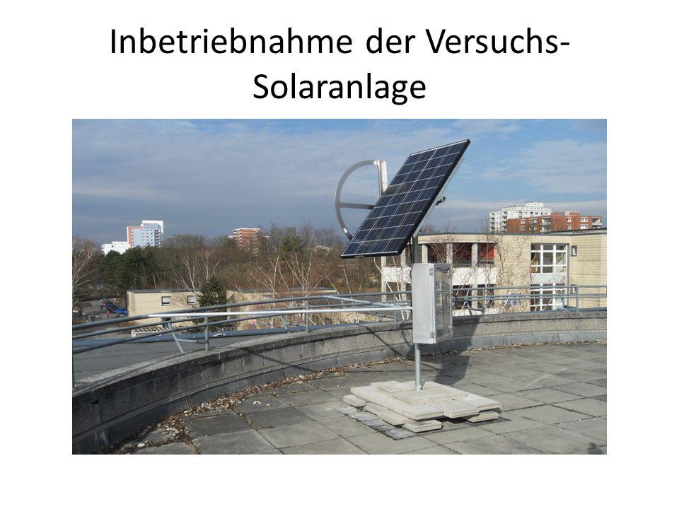 Inbetriebnahme der Versuchs- Solaranlage