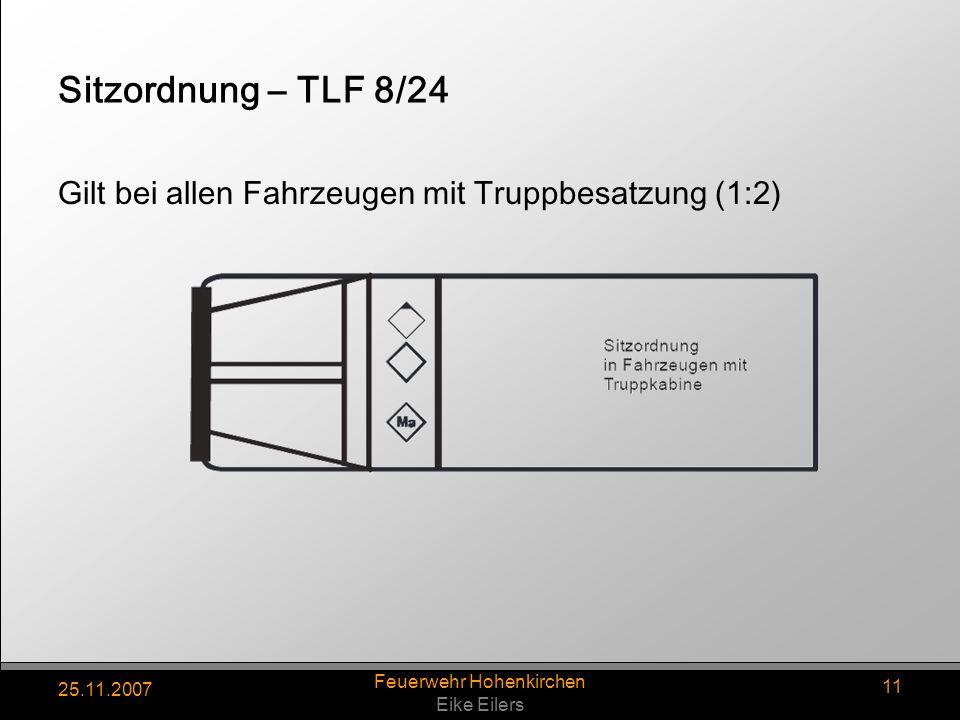 25.11.2007 Feuerwehr Hohenkirchen Eike Eilers 11 Sitzordnung – TLF 8/24 Gilt bei allen Fahrzeugen mit Truppbesatzung (1:2)