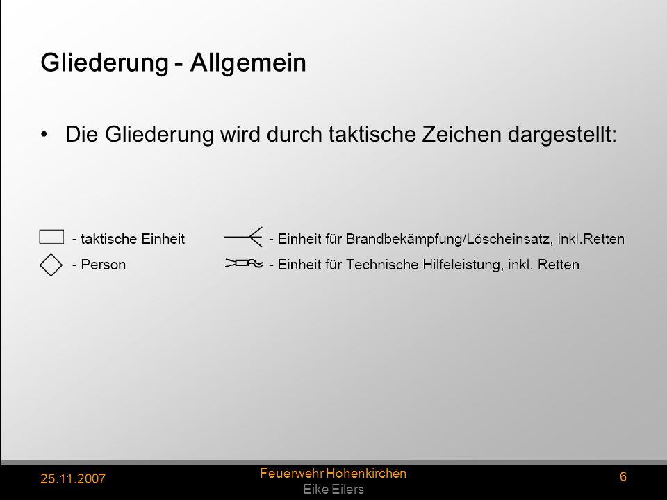 25.11.2007 Feuerwehr Hohenkirchen Eike Eilers 17 Maschinist Ist Fahrer und bedient die TS, sowie Agregate Sichert die Einsatzstelle mit Warnblinker, Fahrlicht und Blaulicht.