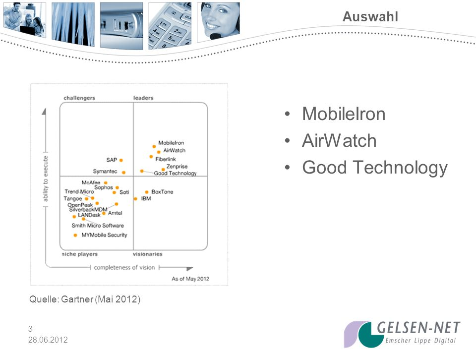 28.06.2012 3 Auswahl MobileIron AirWatch Good Technology Quelle: Gartner (Mai 2012)