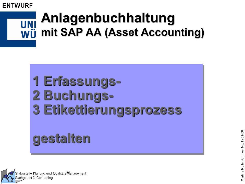 Stabsstelle P lanung und Q ualitäts M anagement Sachgebiet 3: Controlling O C Martina Müller-Amthor - No. 1 / 01-08 ENTWURF Anlagenbuchhaltung mit SAP