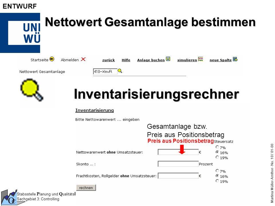 Stabsstelle P lanung und Q ualitäts M anagement Sachgebiet 3: Controlling O C Martina Müller-Amthor - No. 10 / 01-08 ENTWURF Nettowert Gesamtanlage be