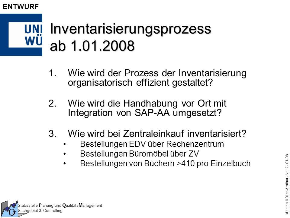 Stabsstelle P lanung und Q ualitäts M anagement Sachgebiet 3: Controlling O C Martina Müller-Amthor - No. 2 / 01-08 ENTWURF Inventarisierungsprozess a