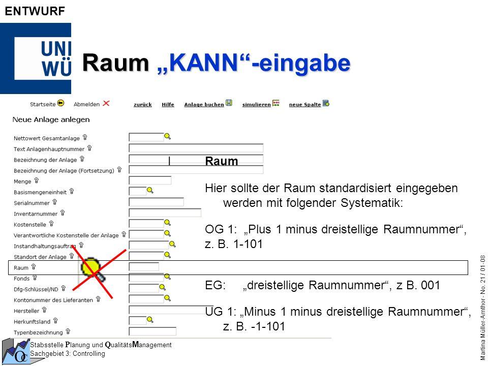 Stabsstelle P lanung und Q ualitäts M anagement Sachgebiet 3: Controlling O C Martina Müller-Amthor - No. 21 / 01-08 ENTWURF Raum KANN-eingabe IRaum H