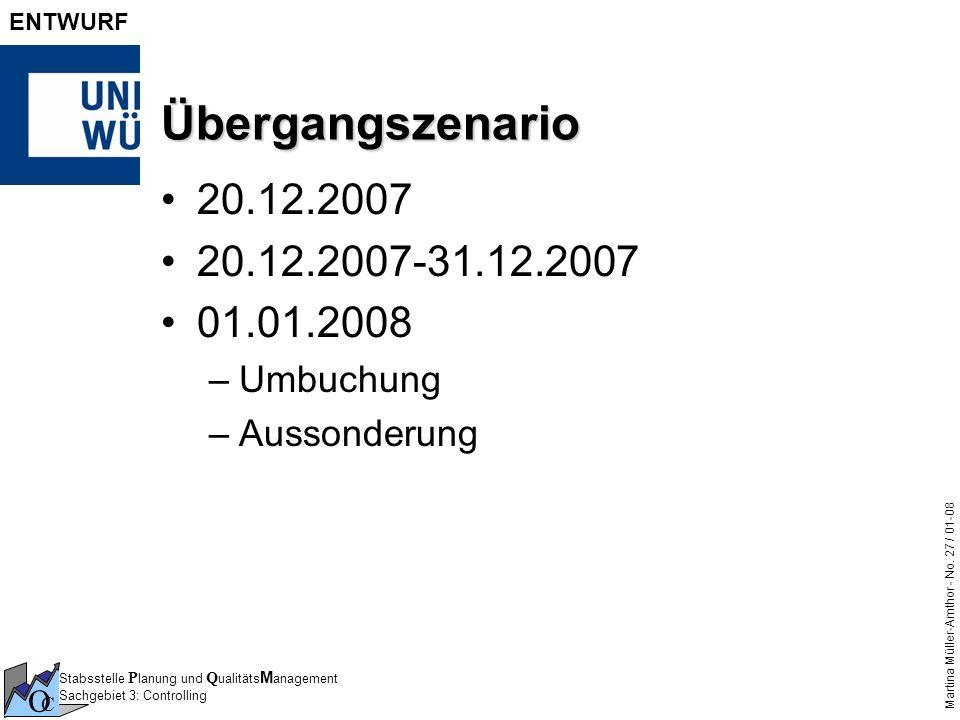 Stabsstelle P lanung und Q ualitäts M anagement Sachgebiet 3: Controlling O C Martina Müller-Amthor - No. 27 / 01-08 ENTWURF Übergangszenario 20.12.20