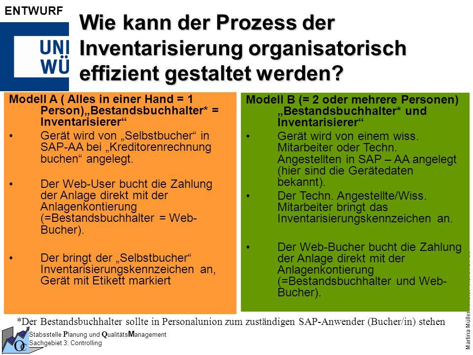 Stabsstelle P lanung und Q ualitäts M anagement Sachgebiet 3: Controlling O C Martina Müller-Amthor - No. 3 / 01-08 ENTWURF Wie kann der Prozess der I