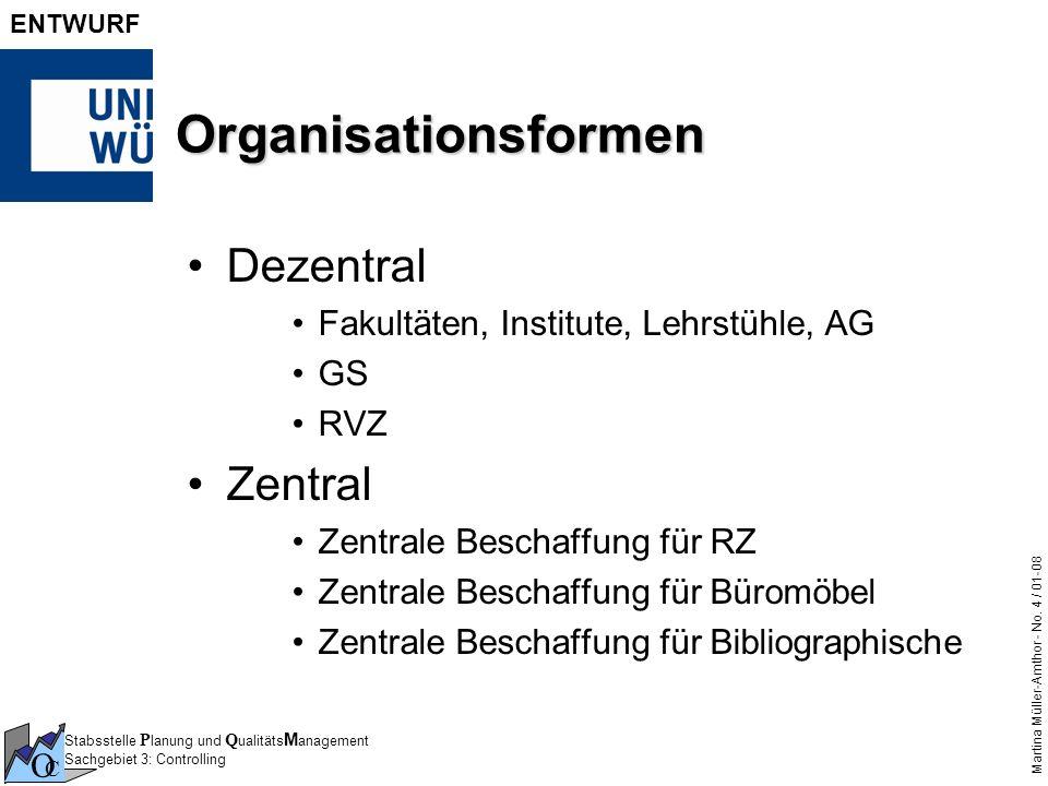 Stabsstelle P lanung und Q ualitäts M anagement Sachgebiet 3: Controlling O C Martina Müller-Amthor - No. 4 / 01-08 ENTWURF Organisationsformen Dezent