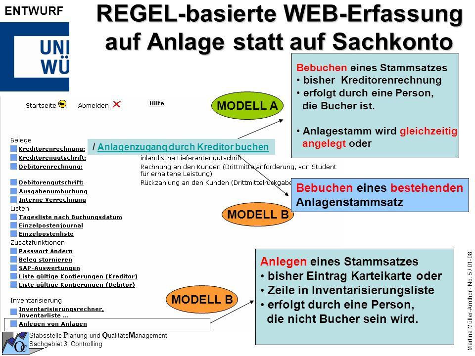 Stabsstelle P lanung und Q ualitäts M anagement Sachgebiet 3: Controlling O C Martina Müller-Amthor - No. 5 / 01-08 ENTWURF REGEL-basierte WEB-Erfassu