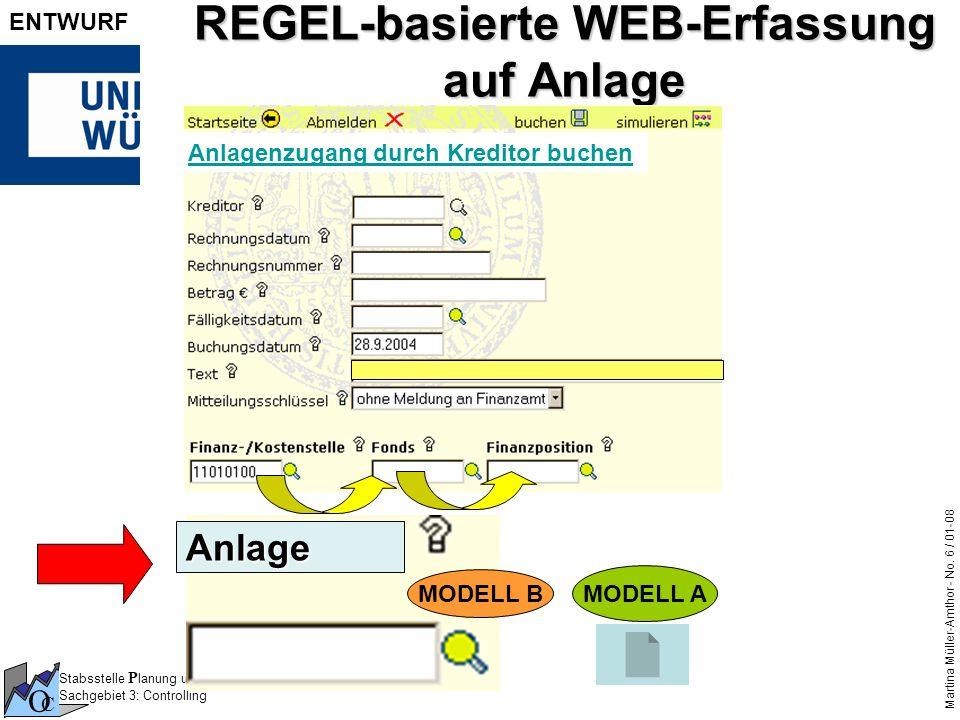 Stabsstelle P lanung und Q ualitäts M anagement Sachgebiet 3: Controlling O C Martina Müller-Amthor - No. 6 / 01-08 ENTWURF REGEL-basierte WEB-Erfassu