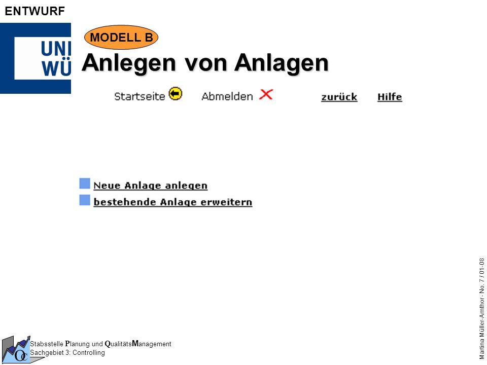 Stabsstelle P lanung und Q ualitäts M anagement Sachgebiet 3: Controlling O C Martina Müller-Amthor - No. 7 / 01-08 ENTWURF Anlegen von Anlagen MODELL