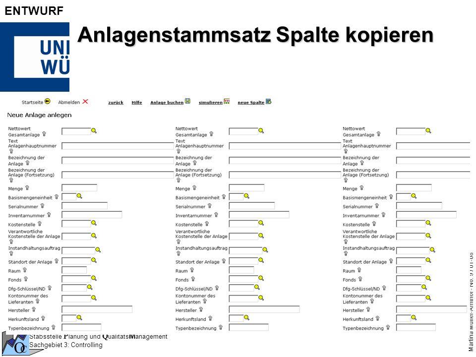 Stabsstelle P lanung und Q ualitäts M anagement Sachgebiet 3: Controlling O C Martina Müller-Amthor - No. 9 / 01-08 ENTWURF Anlagenstammsatz Spalte ko