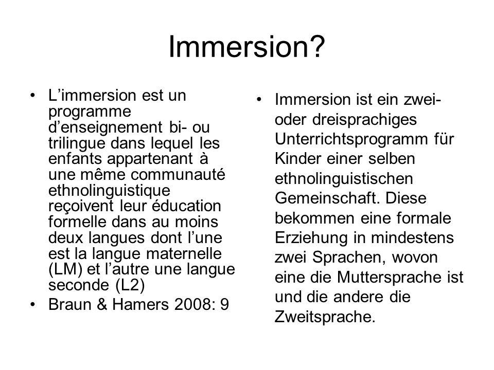 Immersion? Limmersion est un programme denseignement bi- ou trilingue dans lequel les enfants appartenant à une même communauté ethnolinguistique reço