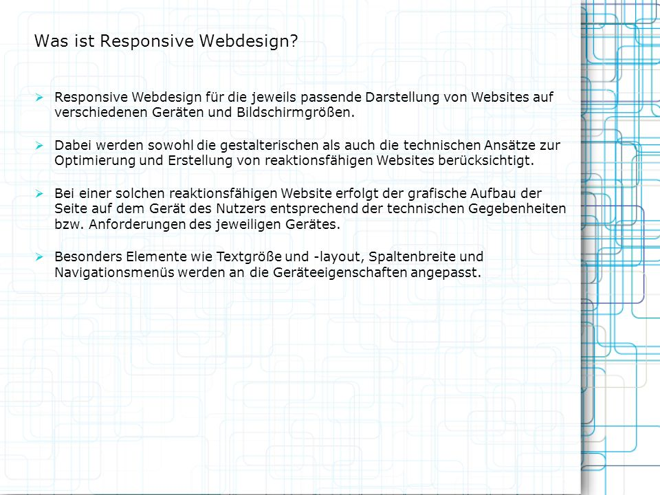 Wie reagiert Responsive Webdesign.