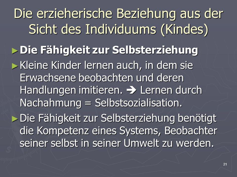 21 Die erzieherische Beziehung aus der Sicht des Individuums (Kindes) Die Fähigkeit zur Selbsterziehung Die Fähigkeit zur Selbsterziehung Kleine Kinde