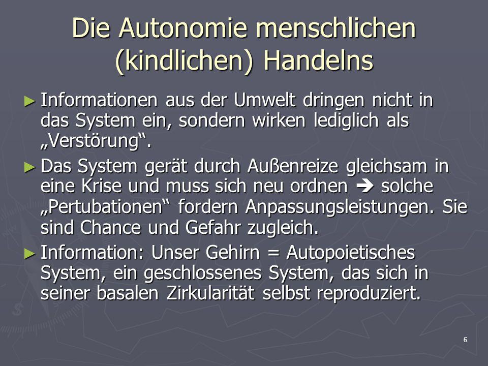 6 Die Autonomie menschlichen (kindlichen) Handelns Informationen aus der Umwelt dringen nicht in das System ein, sondern wirken lediglich als Verstöru