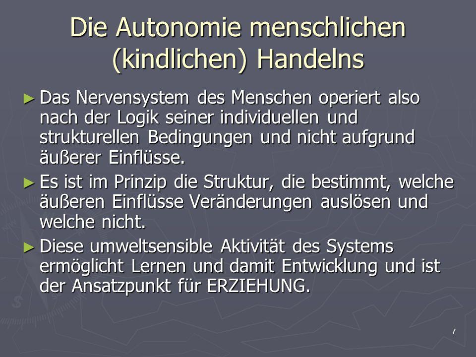 8 Die Autonomie menschlichen (kindlichen) Handelns Die Geschlossenheit unseres Nervensystems und die innerhalb unseres Nervensystems ständig und kontinuierlich ablaufenden, vielfältigen Prozesse sind für uns nicht beobachtbar.