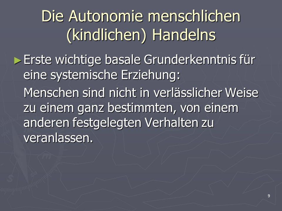 9 Die Autonomie menschlichen (kindlichen) Handelns Erste wichtige basale Grunderkenntnis für eine systemische Erziehung: Erste wichtige basale Grunder