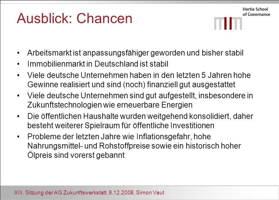 XIII. Sitzung der AG Zukunftswerkstatt, 9.12.2008, Simon Vaut Ausblick: Chancen Arbeitsmarkt ist anpassungsfähiger geworden und bisher stabil Immobili