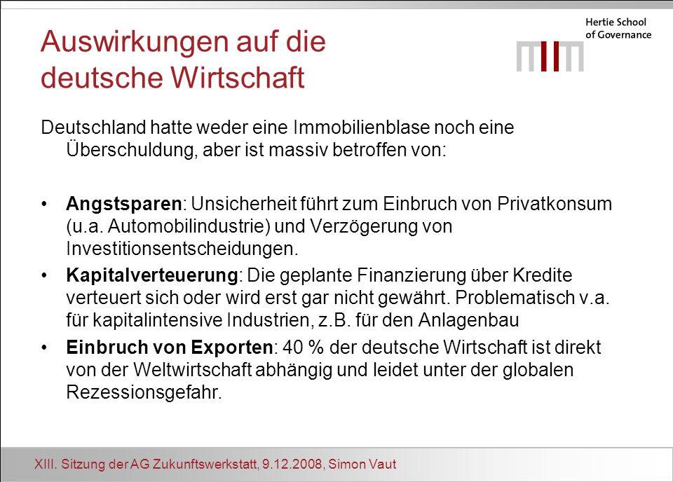 XIII. Sitzung der AG Zukunftswerkstatt, 9.12.2008, Simon Vaut Auswirkungen auf die deutsche Wirtschaft Deutschland hatte weder eine Immobilienblase no