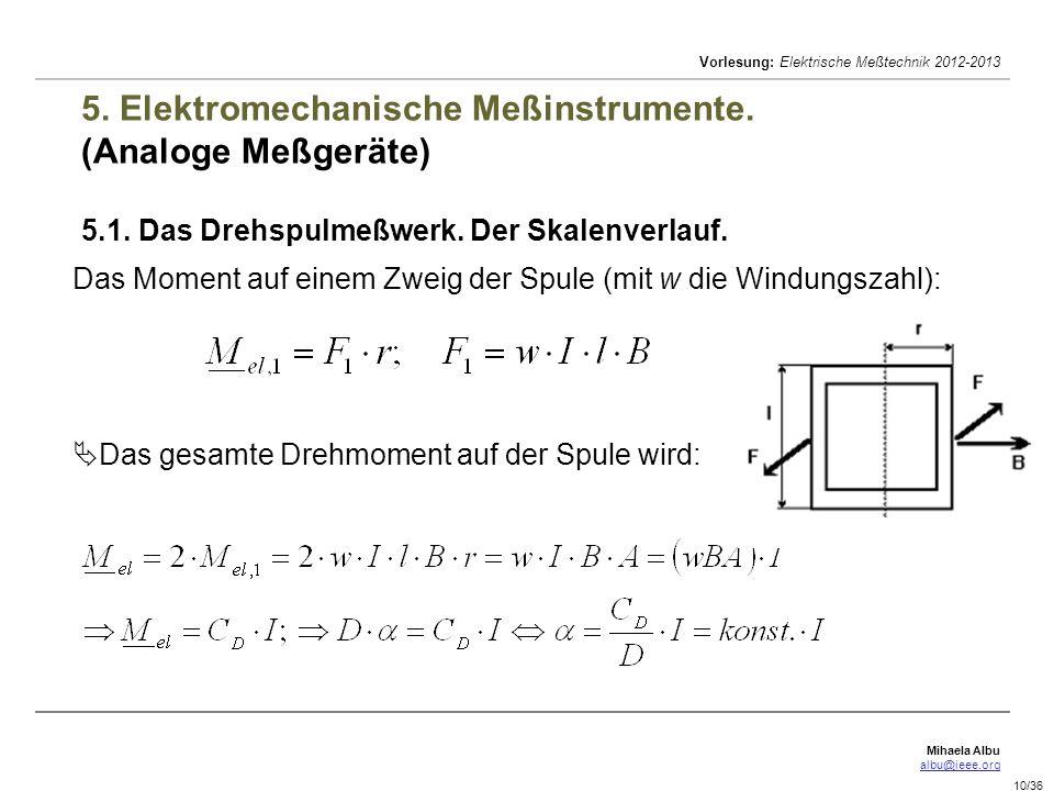 Mihaela Albu albu@ieee.org Vorlesung: Elektrische Meßtechnik 2012-2013 10/36 5. Elektromechanische Meßinstrumente. (Analoge Meßgeräte) 5.1. Das Drehsp