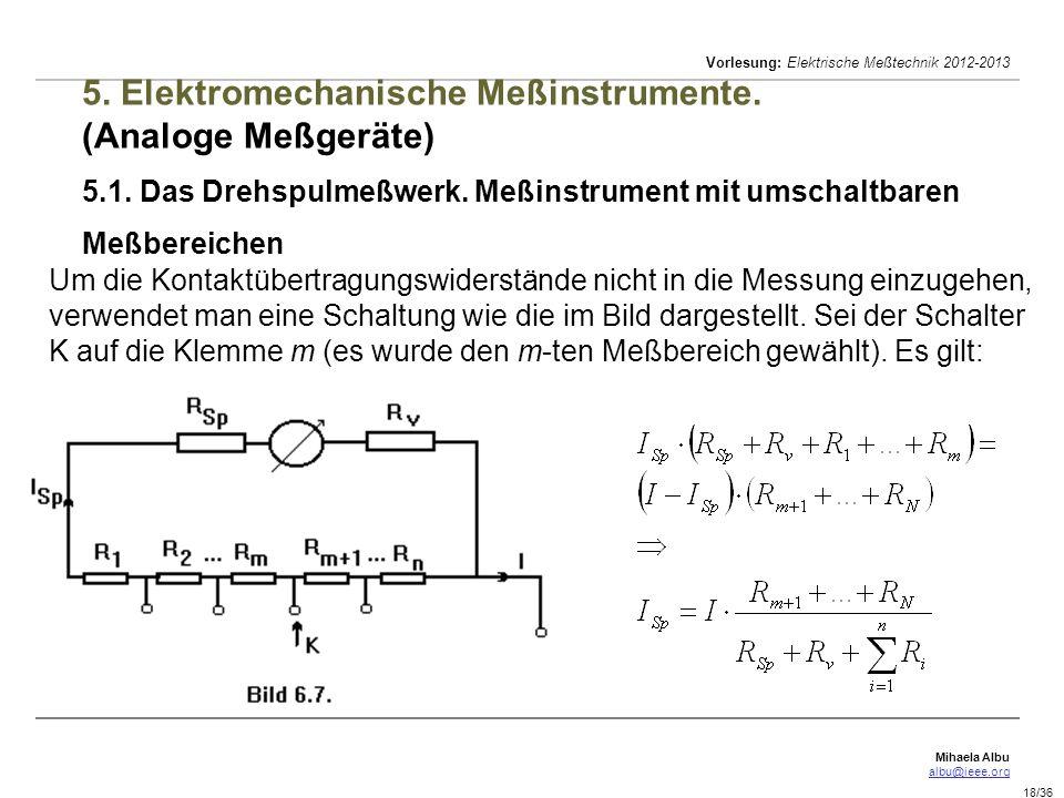 Mihaela Albu albu@ieee.org Vorlesung: Elektrische Meßtechnik 2012-2013 18/36 5. Elektromechanische Meßinstrumente. (Analoge Meßgeräte) 5.1. Das Drehsp