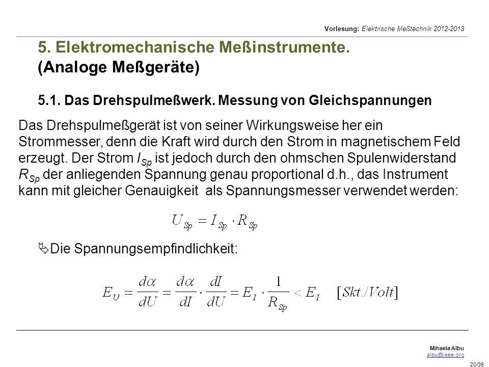 Mihaela Albu albu@ieee.org Vorlesung: Elektrische Meßtechnik 2012-2013 20/36 5. Elektromechanische Meßinstrumente. (Analoge Meßgeräte) 5.1. Das Drehsp