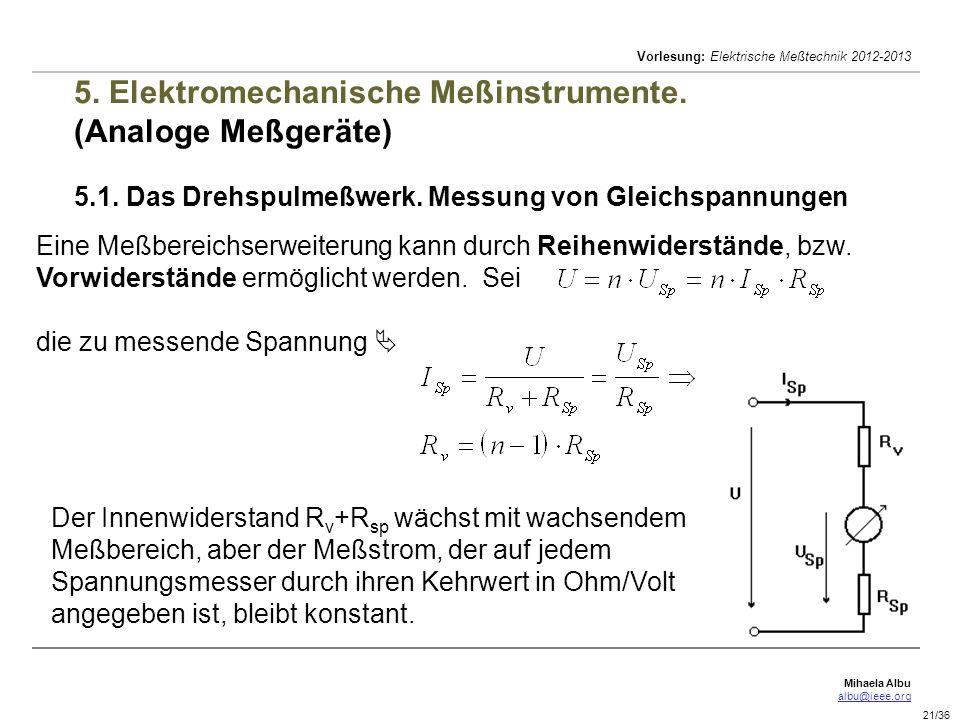 Mihaela Albu albu@ieee.org Vorlesung: Elektrische Meßtechnik 2012-2013 21/36 5. Elektromechanische Meßinstrumente. (Analoge Meßgeräte) 5.1. Das Drehsp