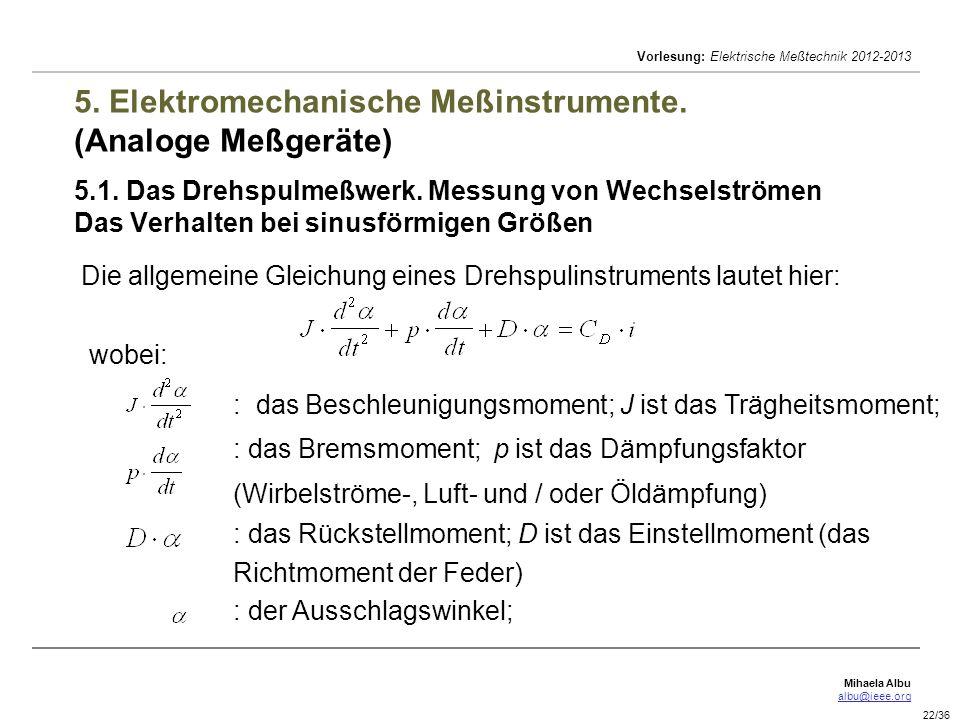 Mihaela Albu albu@ieee.org Vorlesung: Elektrische Meßtechnik 2012-2013 22/36 5. Elektromechanische Meßinstrumente. (Analoge Meßgeräte) 5.1. Das Drehsp