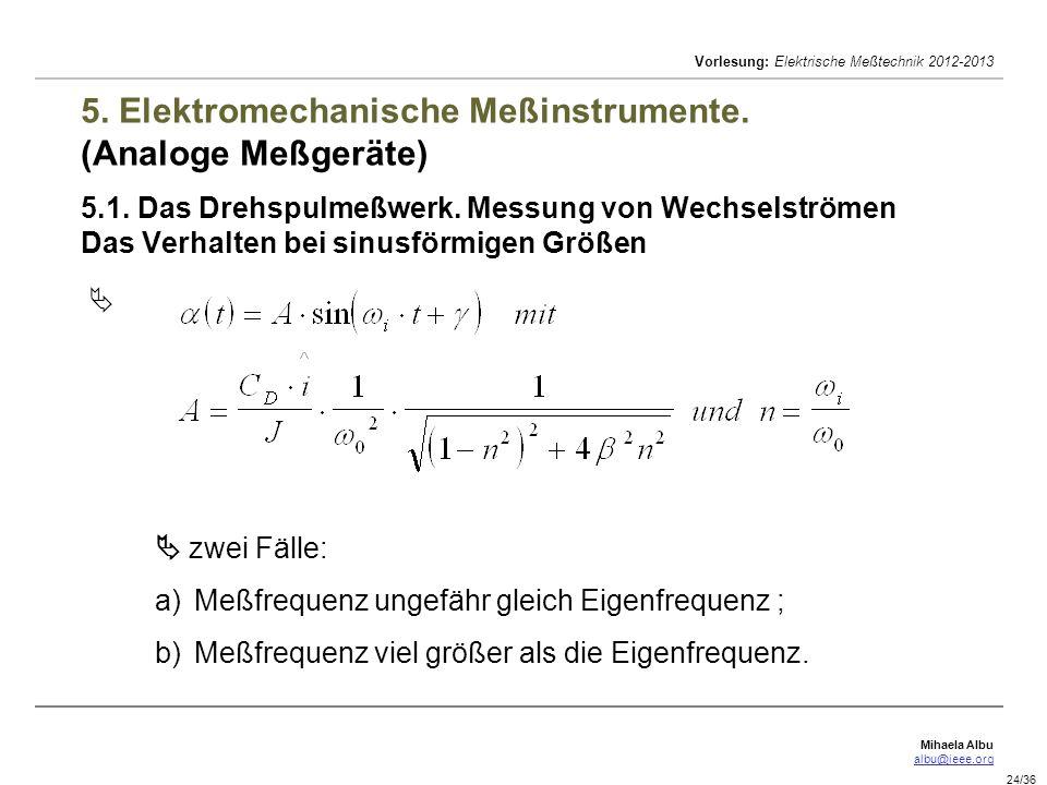 Mihaela Albu albu@ieee.org Vorlesung: Elektrische Meßtechnik 2012-2013 24/36 5. Elektromechanische Meßinstrumente. (Analoge Meßgeräte) 5.1. Das Drehsp