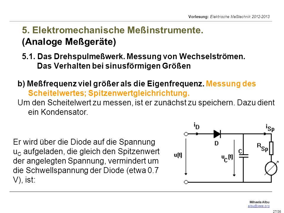 Mihaela Albu albu@ieee.org Vorlesung: Elektrische Meßtechnik 2012-2013 27/36 5. Elektromechanische Meßinstrumente. (Analoge Meßgeräte) 5.1. Das Drehsp