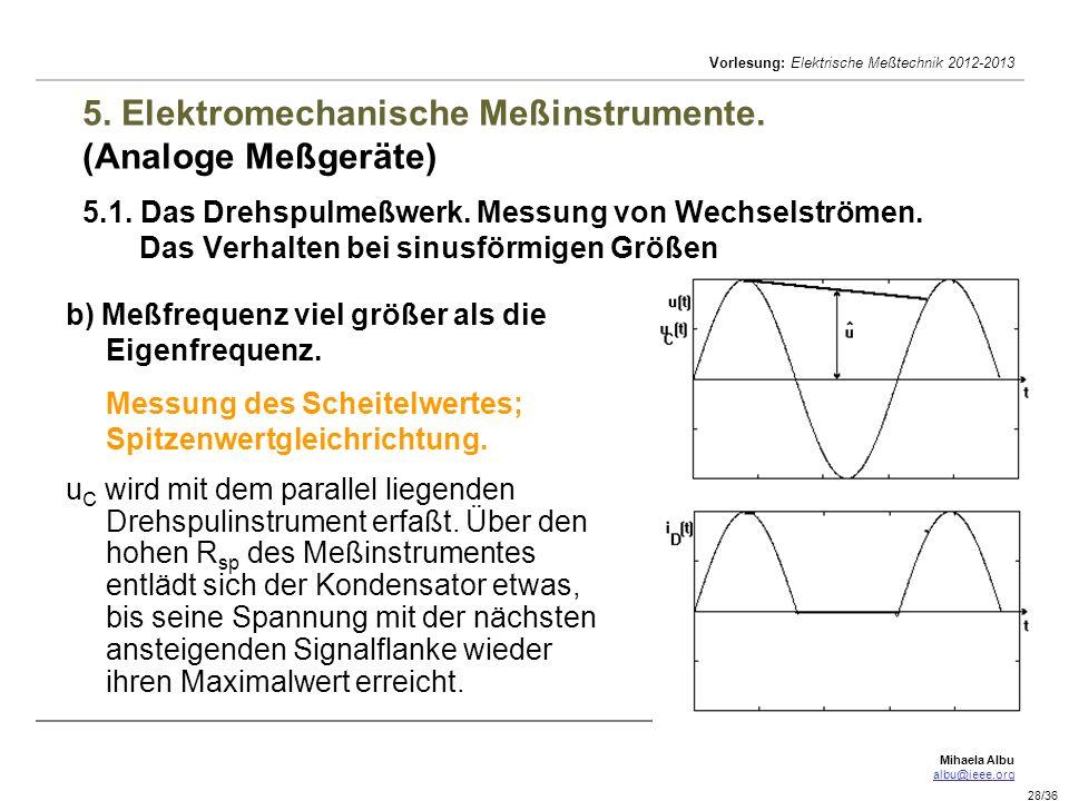 Mihaela Albu albu@ieee.org Vorlesung: Elektrische Meßtechnik 2012-2013 28/36 5. Elektromechanische Meßinstrumente. (Analoge Meßgeräte) 5.1. Das Drehsp