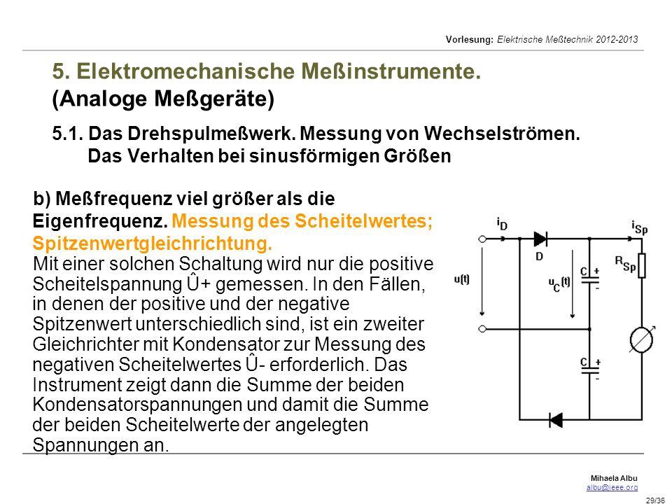 Mihaela Albu albu@ieee.org Vorlesung: Elektrische Meßtechnik 2012-2013 29/36 5. Elektromechanische Meßinstrumente. (Analoge Meßgeräte) 5.1. Das Drehsp